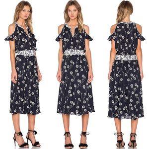 DEREK LAM Cold Shoulder Floral Maxi Dress
